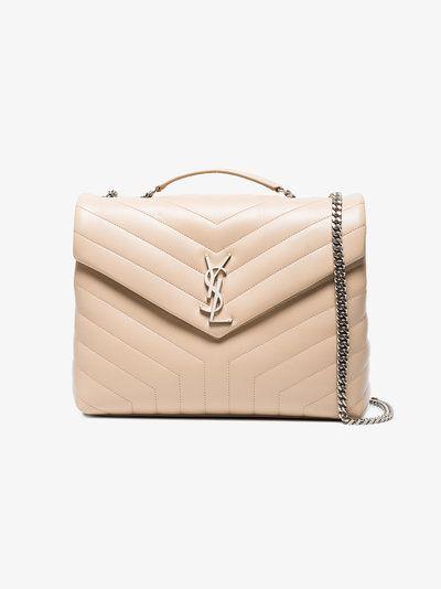 Saint Laurent Cream Lou Lou Large Leather Shoulder Bag