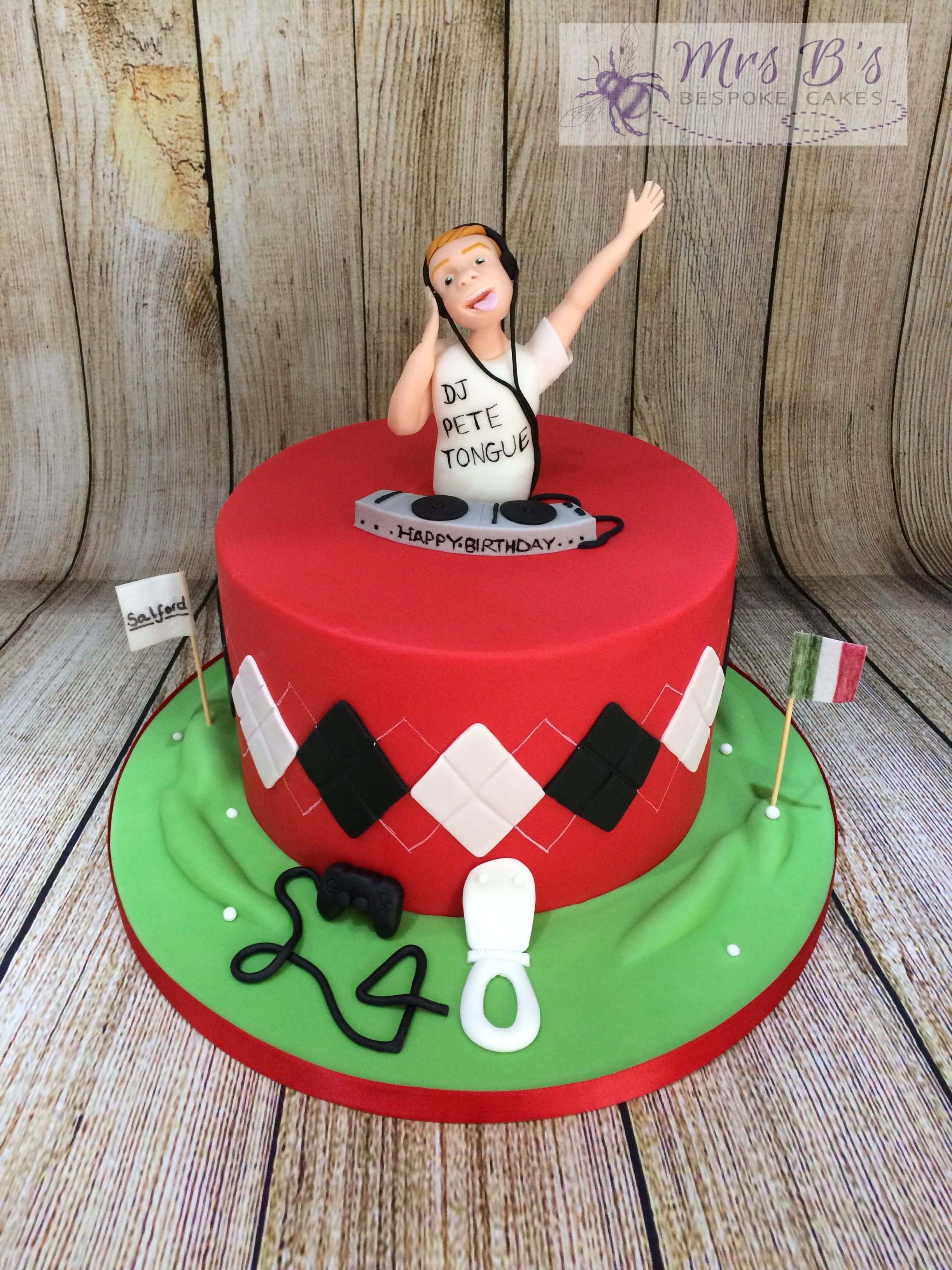 DJ Birthday Cake For A Football And Golf Fan With Some Cheeky Personal Additions Entirely Handcrafted