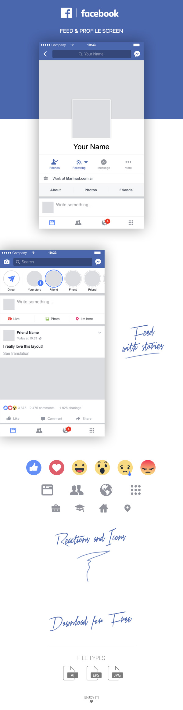 Free Facebook Mobile Layout Feed Profile Marinad Facebook Layout Free Facebook Facebook Ad Mockup