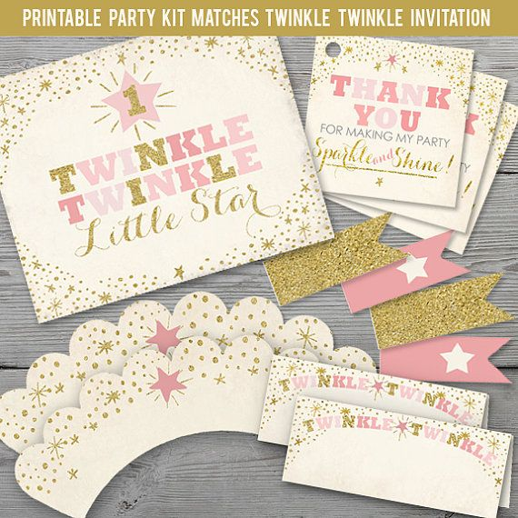 Twinkle Little Star Birthday Party Kit PRINTABLE First Decorations Littlestar Printables