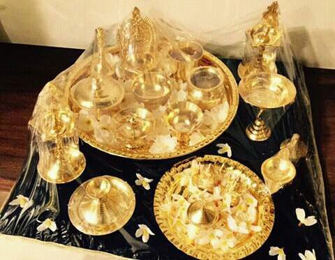 Gold puja saman | Silver pooja items, Festival decorations ...