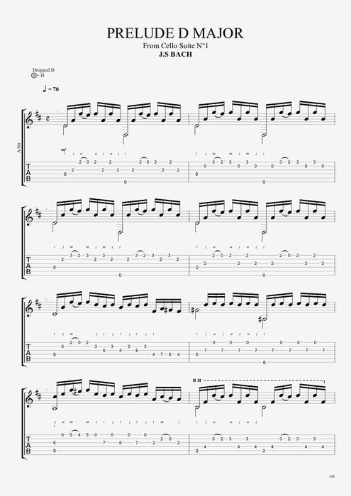 Prelude in D by Johann Sebastian Bach - Solo Guitar Guitar