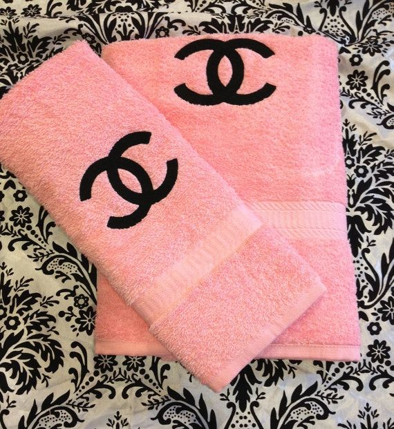 Embroidered Blush Pink And Black Chanel Inspired Towels One Set