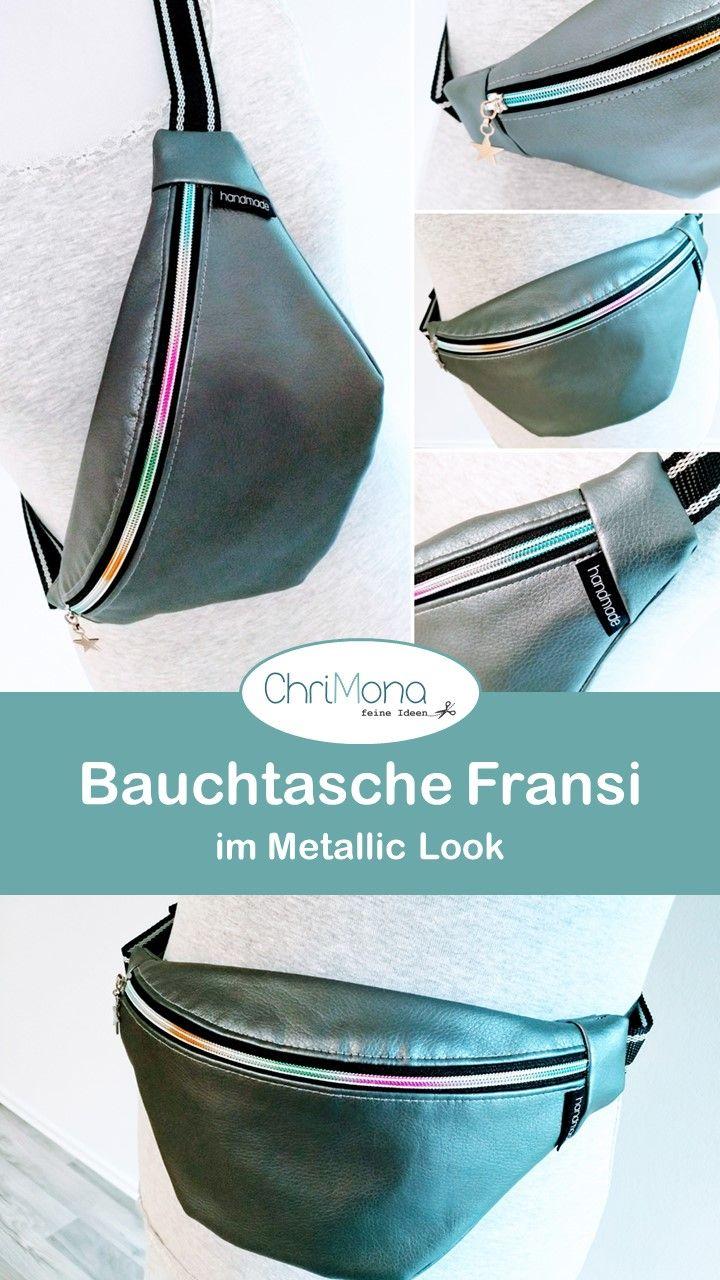 Photo of Bauchtasche Fransi im Metallic Look aus feinem Kunstleder – genäht von Chrimona