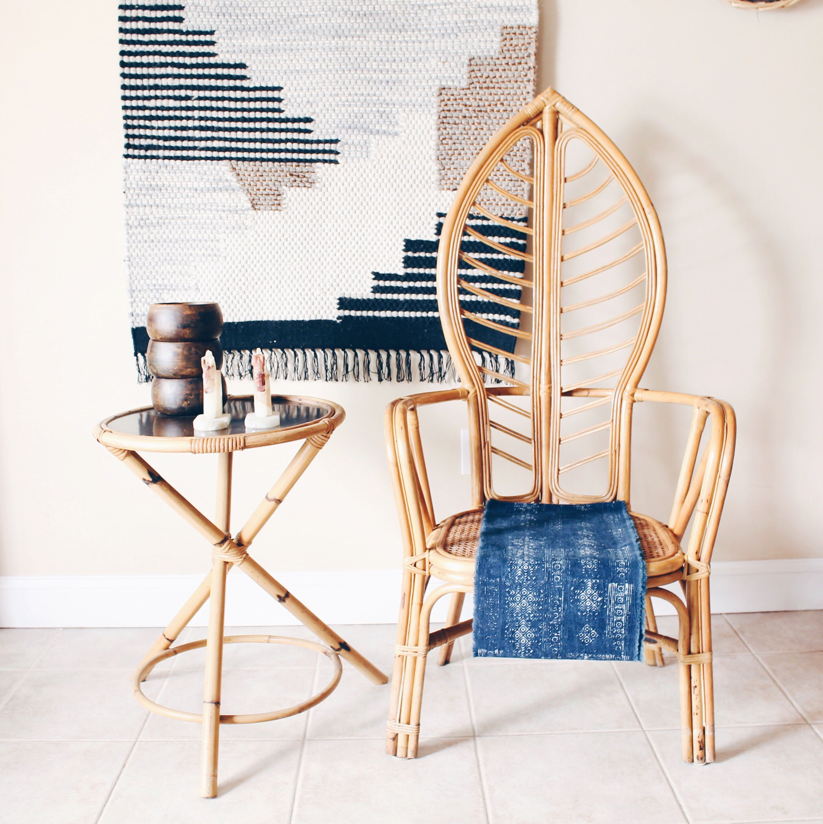 Bamboo arm chairs - Rattan Leaf Shaped Throne Chairs With Caned Seat High Back Chair Vintage Rattan Arm