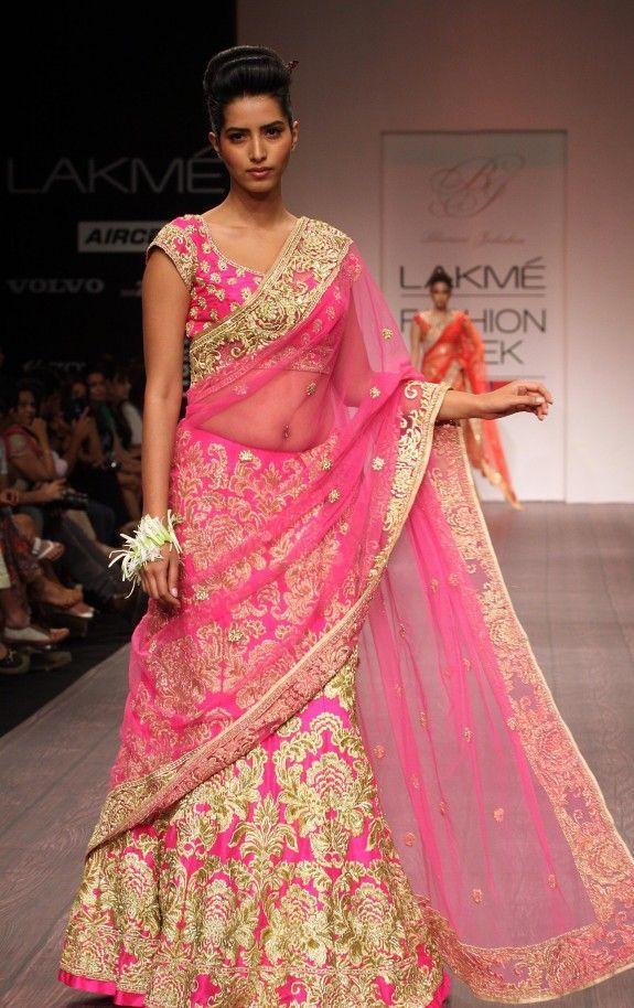 pink and gold lehenga @ lakme fashion week | Indian Bridal Wear ...