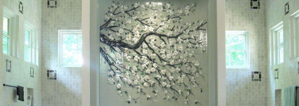 Dogwood Branch Mural In Fused Glass Tiles | Designer Glass Mosaics