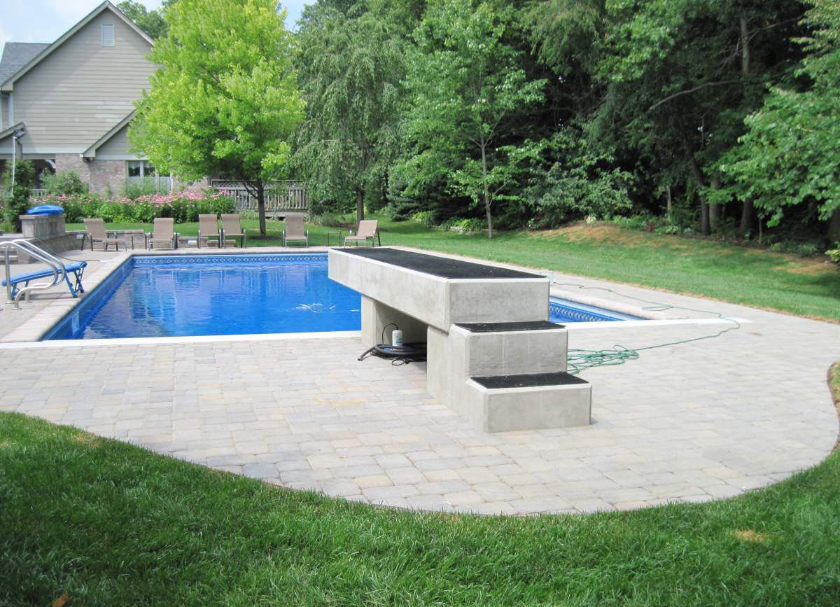 Paver Pool Patio And Concrete Diving Board