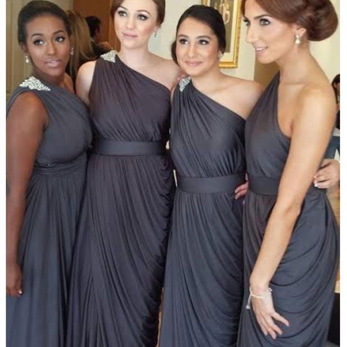 One-shoulder Dark Gray Jersey Bridesmaid Dresses,Long Bridesmaid ...