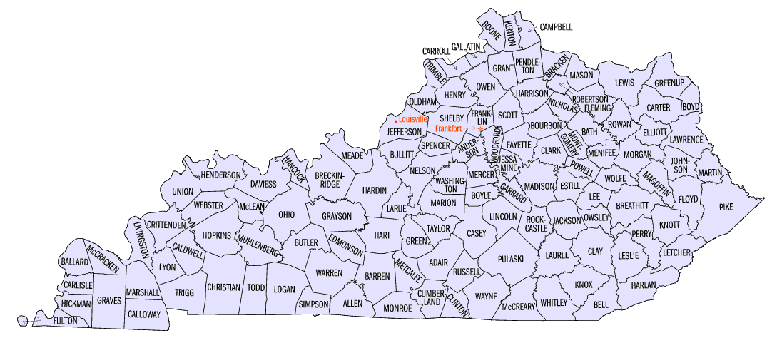 All The Counties In The State Of Kentucky County Map