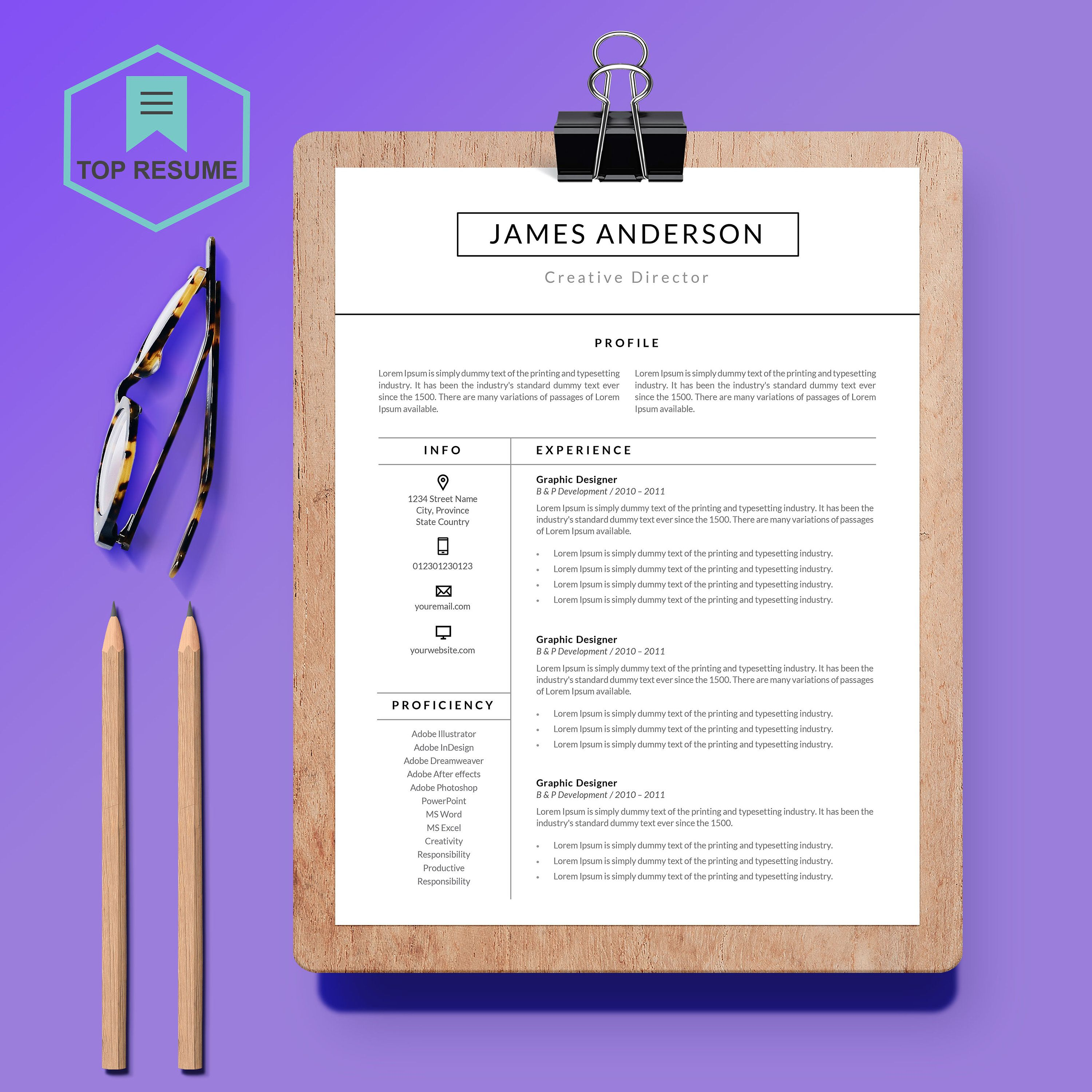 New resume template cv template cover letter
