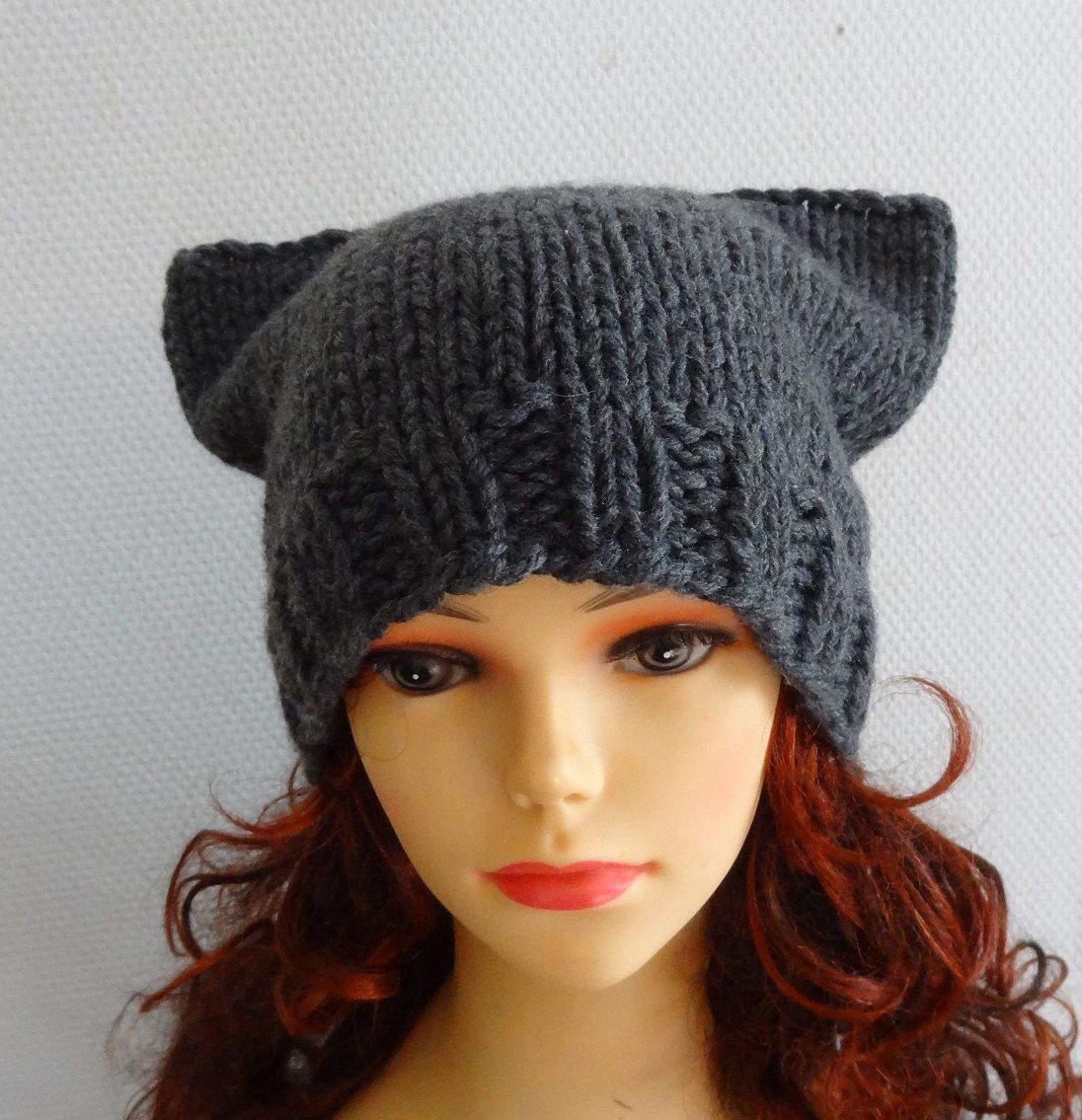cat ears hat cat beanie chunky knit winter accessories animals hat