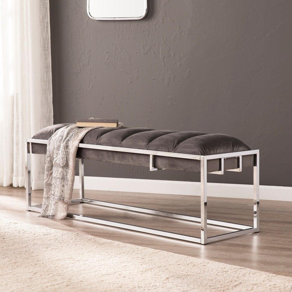 Shop Harloe Upholstered Bench On Sale Free Shipping Today Overstock 22902894 Holographic Blue Gray W Chrome Upholstered Bench Furniture Upholster