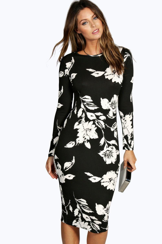 Long Sleeve Midi Bodycon Dress | boohoo | Bodycon dress