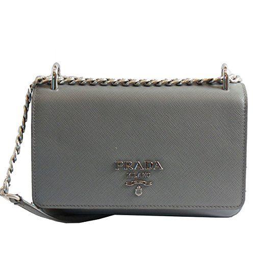 ae0fcd71a11165 $1895 - Prada Silver Gray Saffiano Leather Designer Shoulder Bag for Women  1BD144