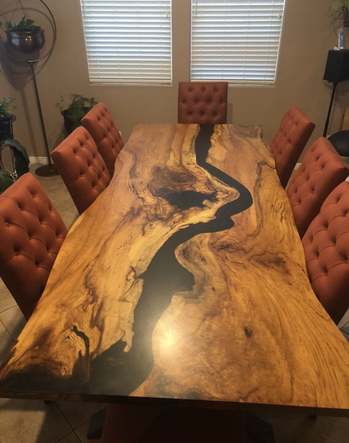 Live Edge Pecan Resin Dining Table Live Edge Dining Table