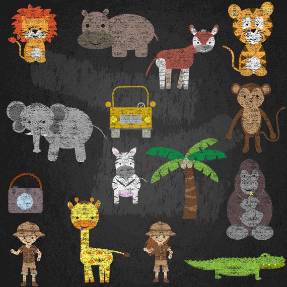 Chalkboard Zoo Animals Clipart Set Jungle Clip Art Safari Graphics Chalk Lion Okapi Gorilla Tiger Giraffe Elephant Monkey Animal Clipart Chalkboard Art Zoo Animals