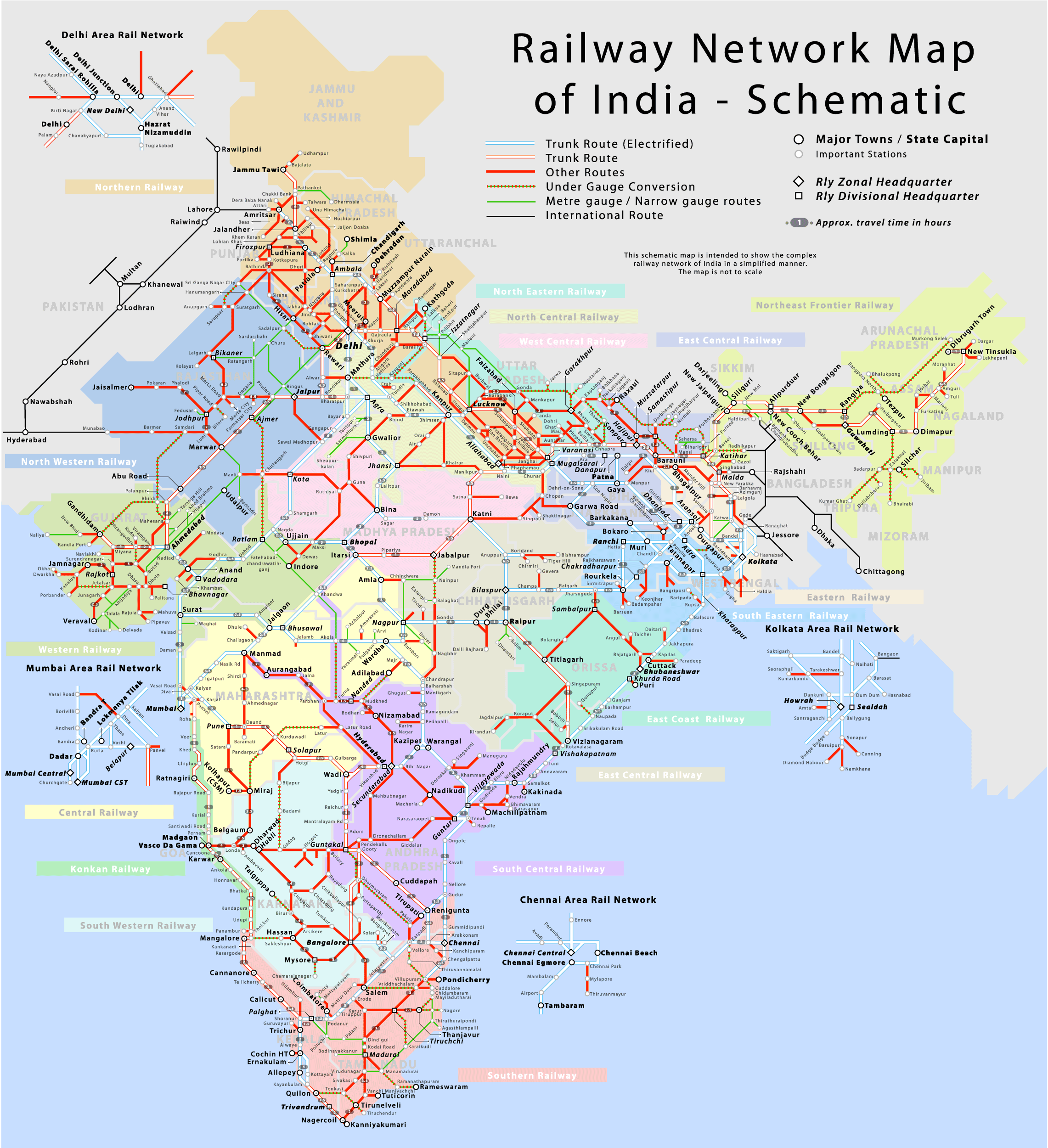 india map train route Railway Network Map Of India Train Map India Map Indian Railways india map train route