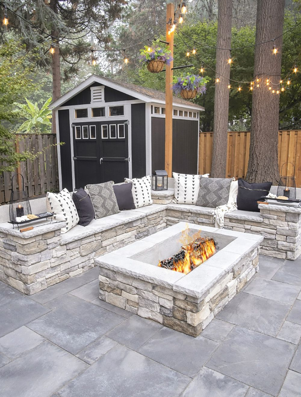 Double Sided Outdoor Fireplace Paradise Restored Landscaping Backyard Renovations Outdoor Fireplace Patio Backyard Remodel Modern patio fire pit designs