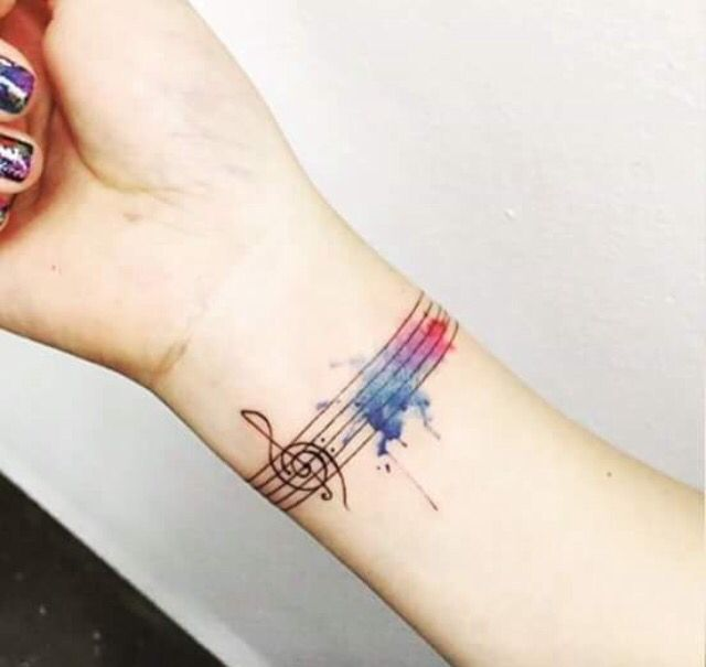 Beautiful Water Color Tattoo Wrist Tattoos For Women Music Wrist Tattoos Music Tattoo Designs