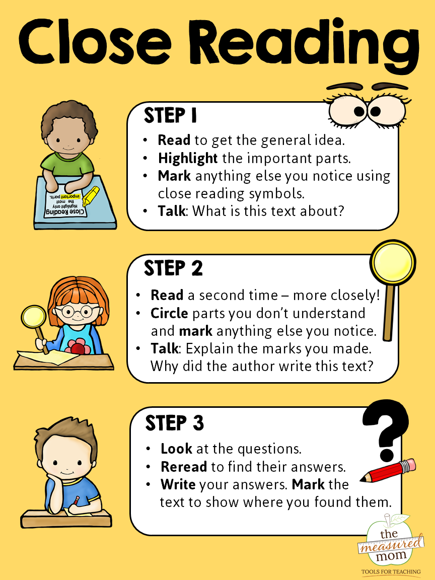 Close reading poster and bookmarks - The Measured Mom   Close reading [ 1152 x 864 Pixel ]