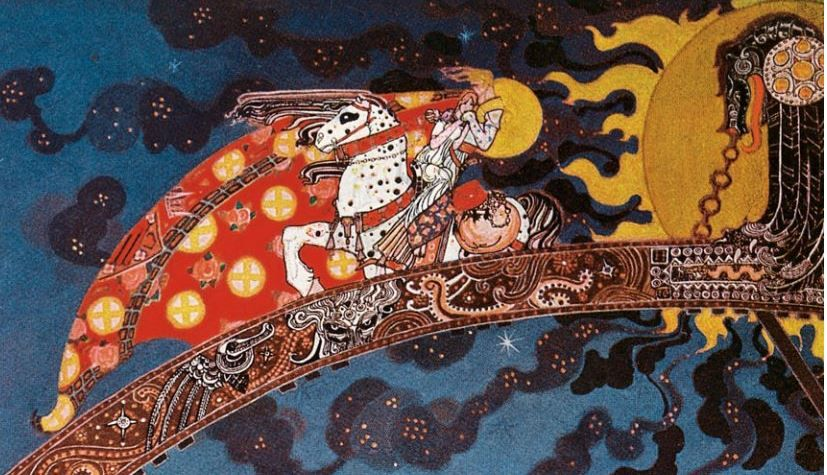 """Detail. Kay Nielsen. From """"East of the Sun and West of the Moon"""" (""""And flitted away as far as they could ... """"), 1914."""