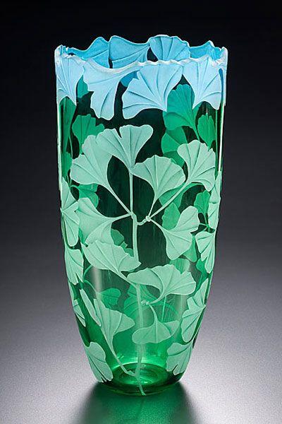 Ginko Vase Sand Carved Glass Glass Art Pinterest Glass Glass