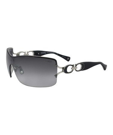 3da141be9a Another great find on  zulily! Silver   Black Shield Sunglasses by Coach   zulilyfinds