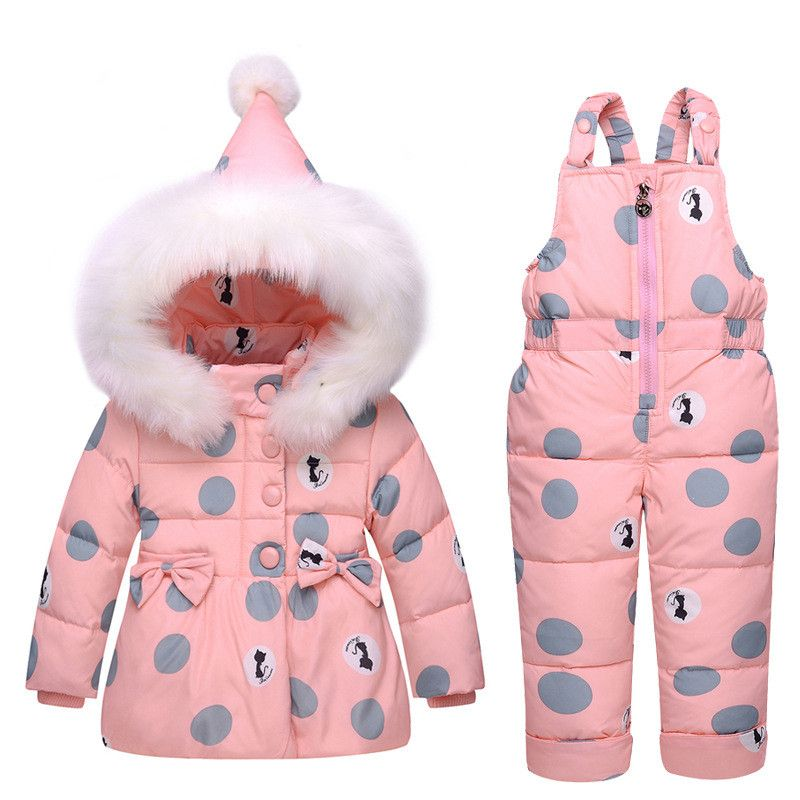 fe94aec6f9c0 Cute Girl s Dots and Kitty Printed Winter Clothes Sets Hooded Down ...
