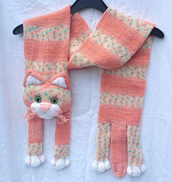 Gestrickte Kinder Schal tierischen Schal von NPhandmadeCreations katzenscha...