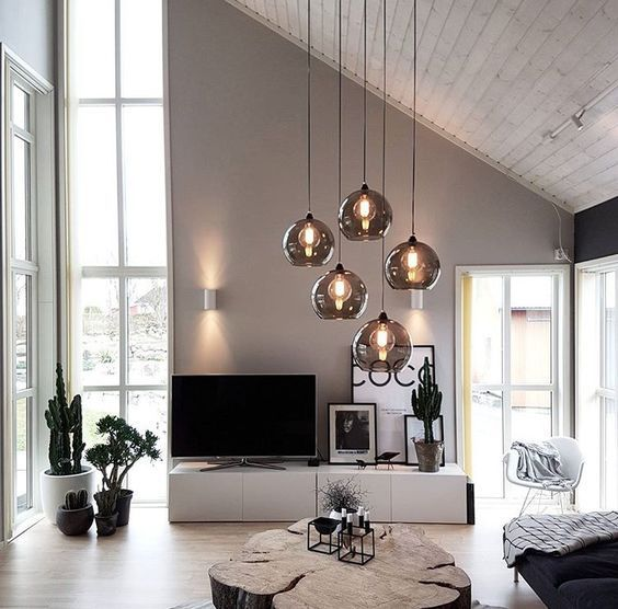 Modern Scandinavian Living Room With High Ceiling And Windows From Ceiling To Floor Cl Living Room Decor Modern Living Room Modern Living Room Decor Apartment