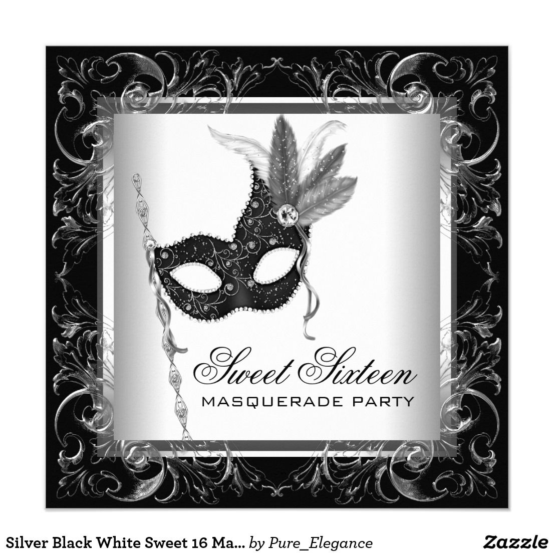 Silver Black White Sweet 16 Masquerade Party Invitation | { Happy ...