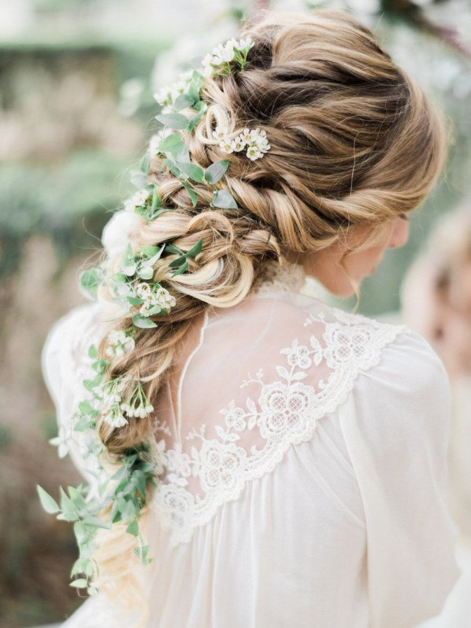 How Gorgeous Is This White Flower Braid Hairstyle For A Wedding
