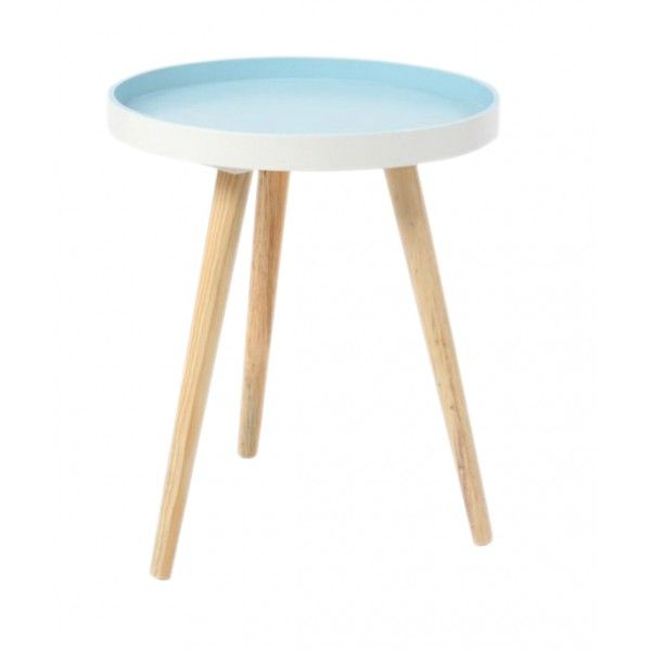 Mesa auxiliar blanco azul redonda n rdica muebles for Mesa auxiliar redonda ikea