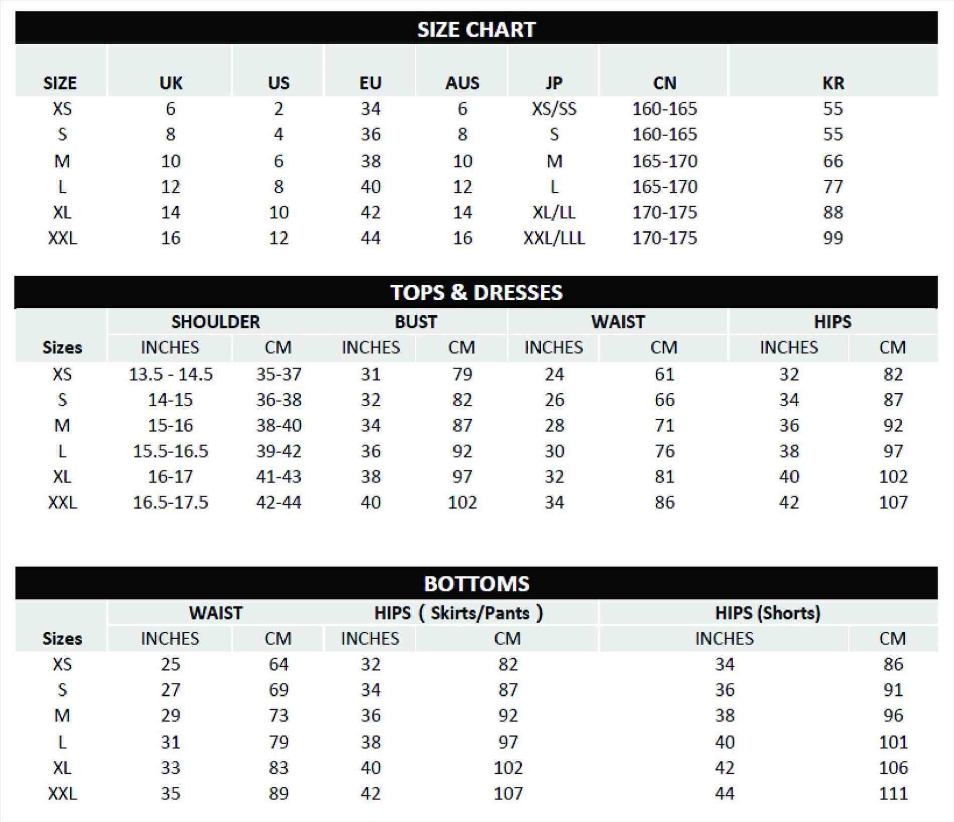 G2000 Size Chart Size Chart Chart Size