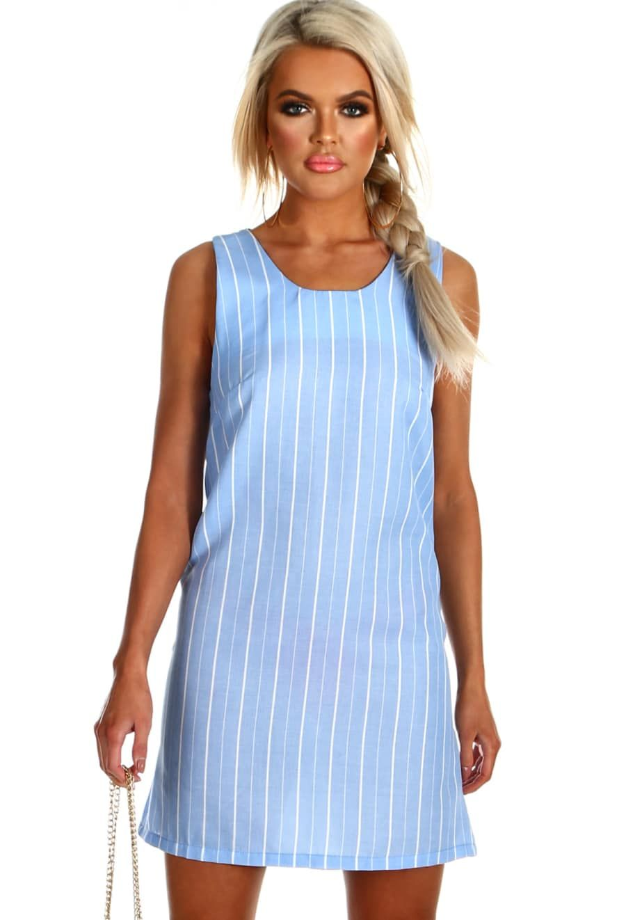 Stripe Tease Blue and White Stripe Lace Up Shift Dress 8