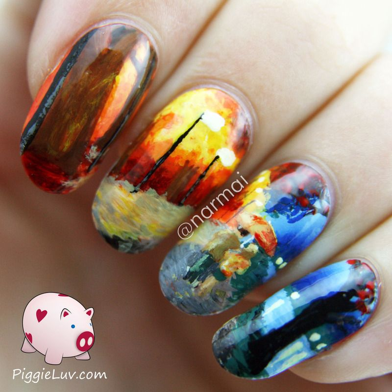 Piggieluv Galaxy Donuts Nail Art: Inspired By Leonid Afremov Nail Art By Narmai