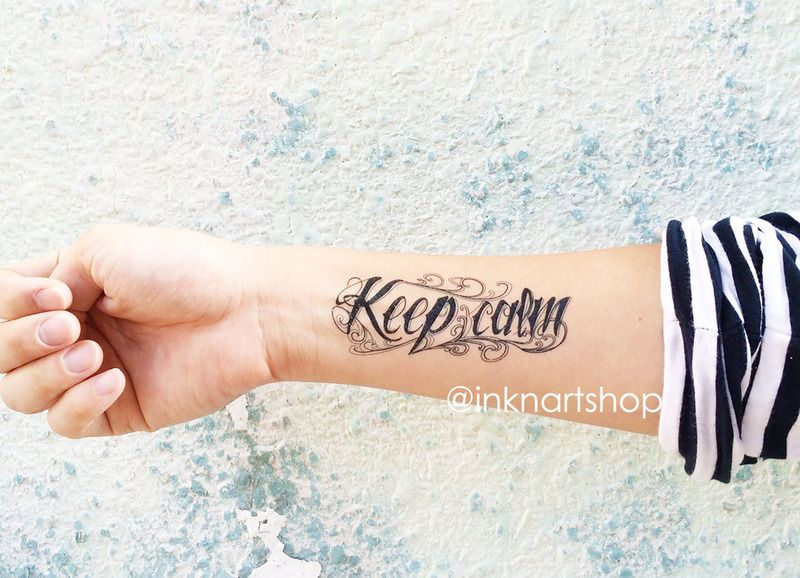Henna Tattoo Für Jungs: 2pcs KEEP CALM Typography Temporary Tattoo Von InknArt