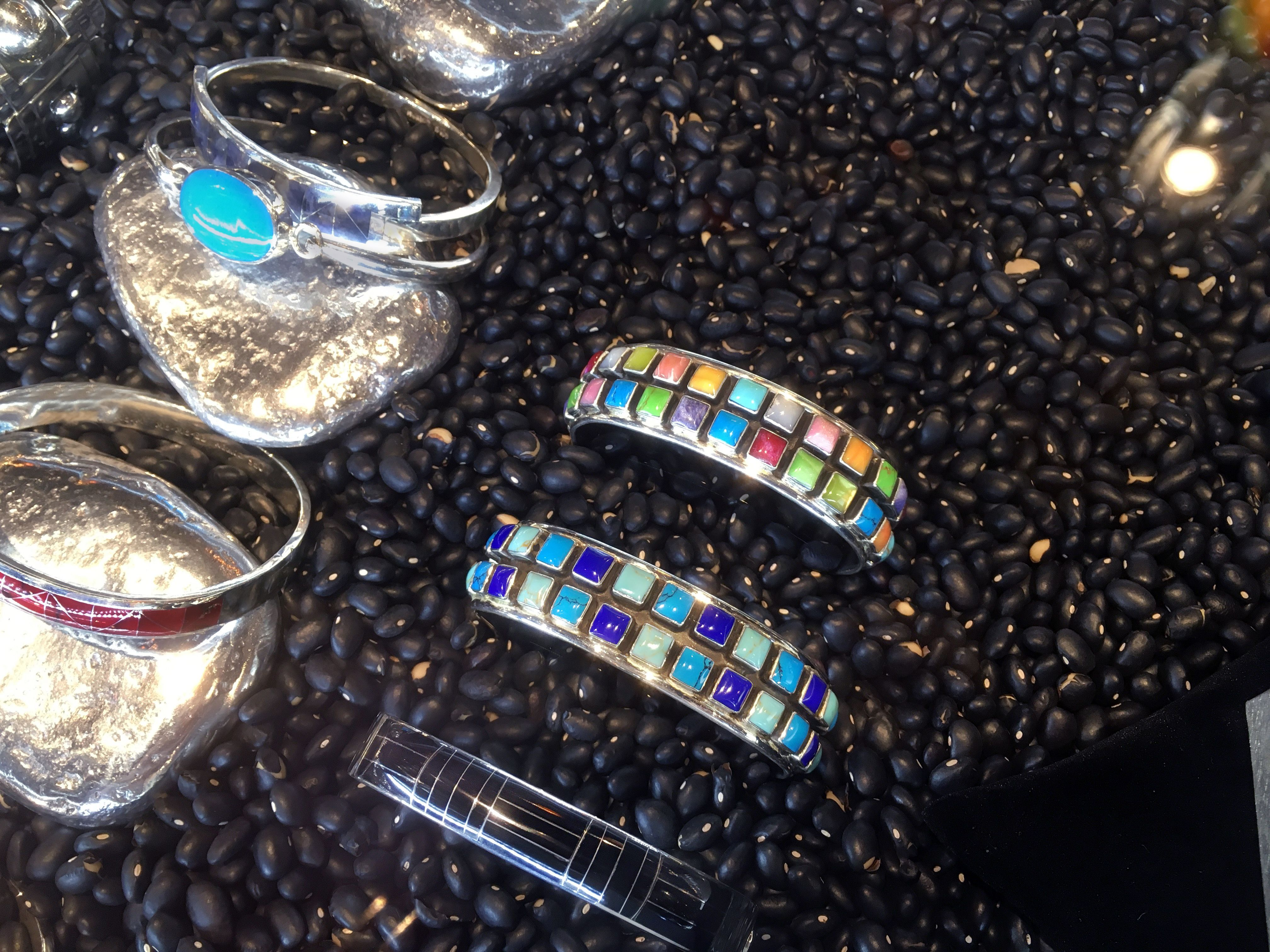 Solid .925 sterling silver with gemstones bracelets at No Mas!