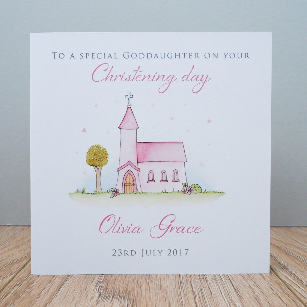 Personalised Girls Christening Card Church Baptism Card Goddaughter Niece Any