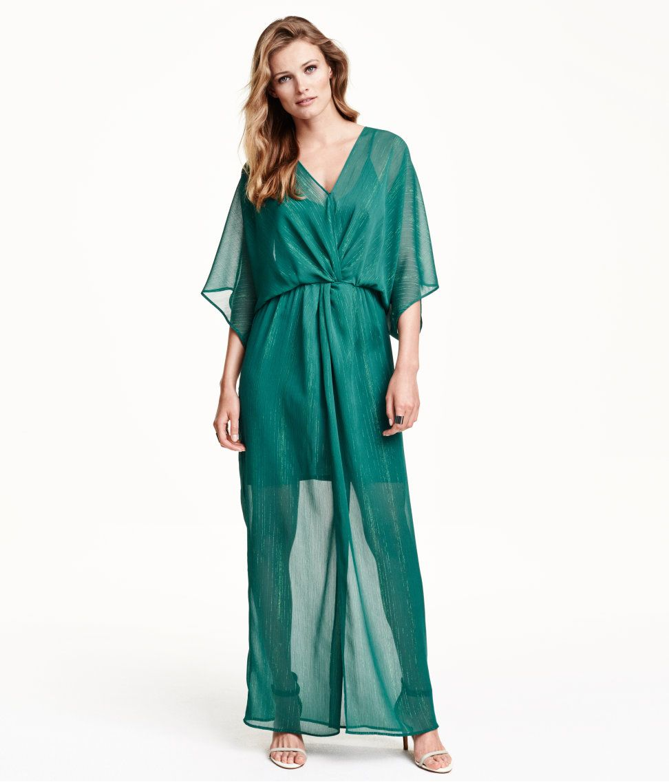 V-neck maxi dress in green glittery chiffon, with draped front, wide ...
