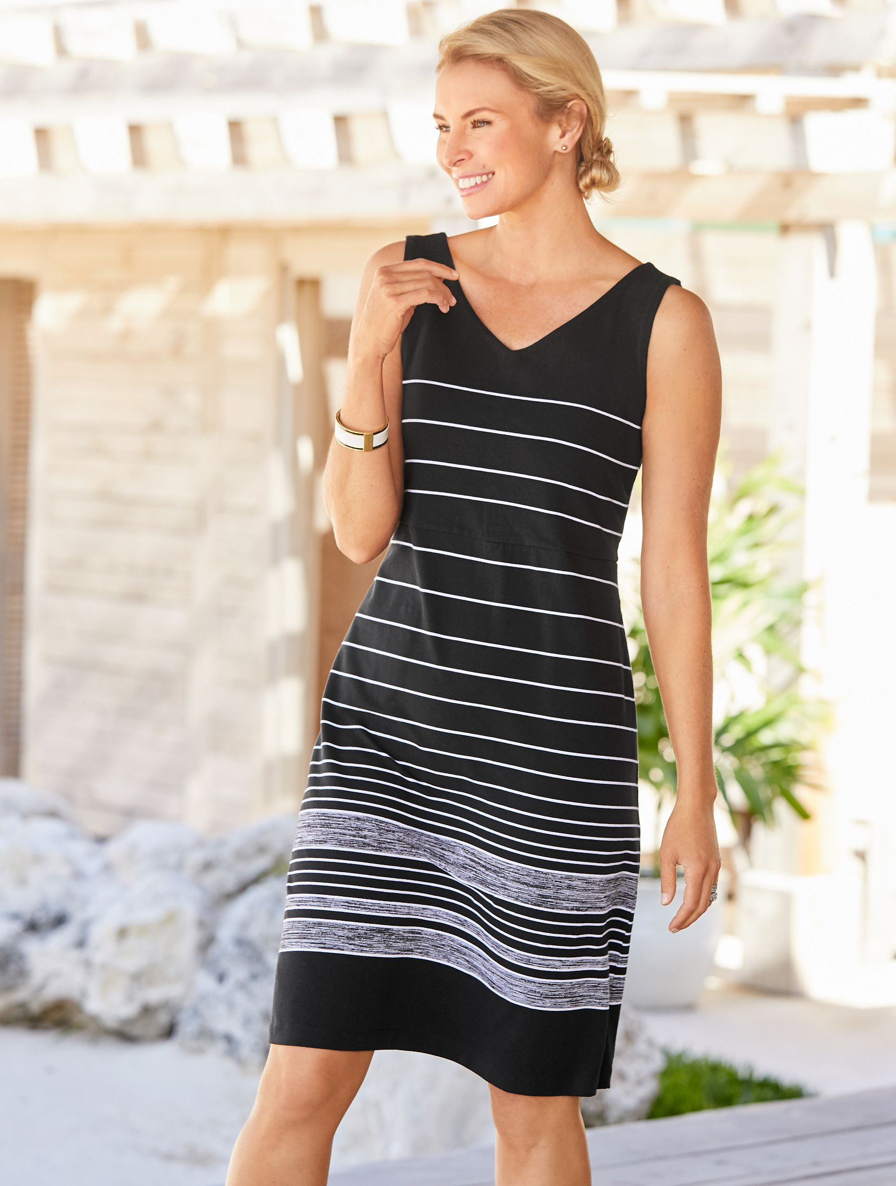 Black White Striped A Comfortable Knit Dress Is The The Most Modern Way To Wear This Timeless Color Duo Talbots Stripe Outfits Dresses V Neck Dress [ 2365 x 1788 Pixel ]