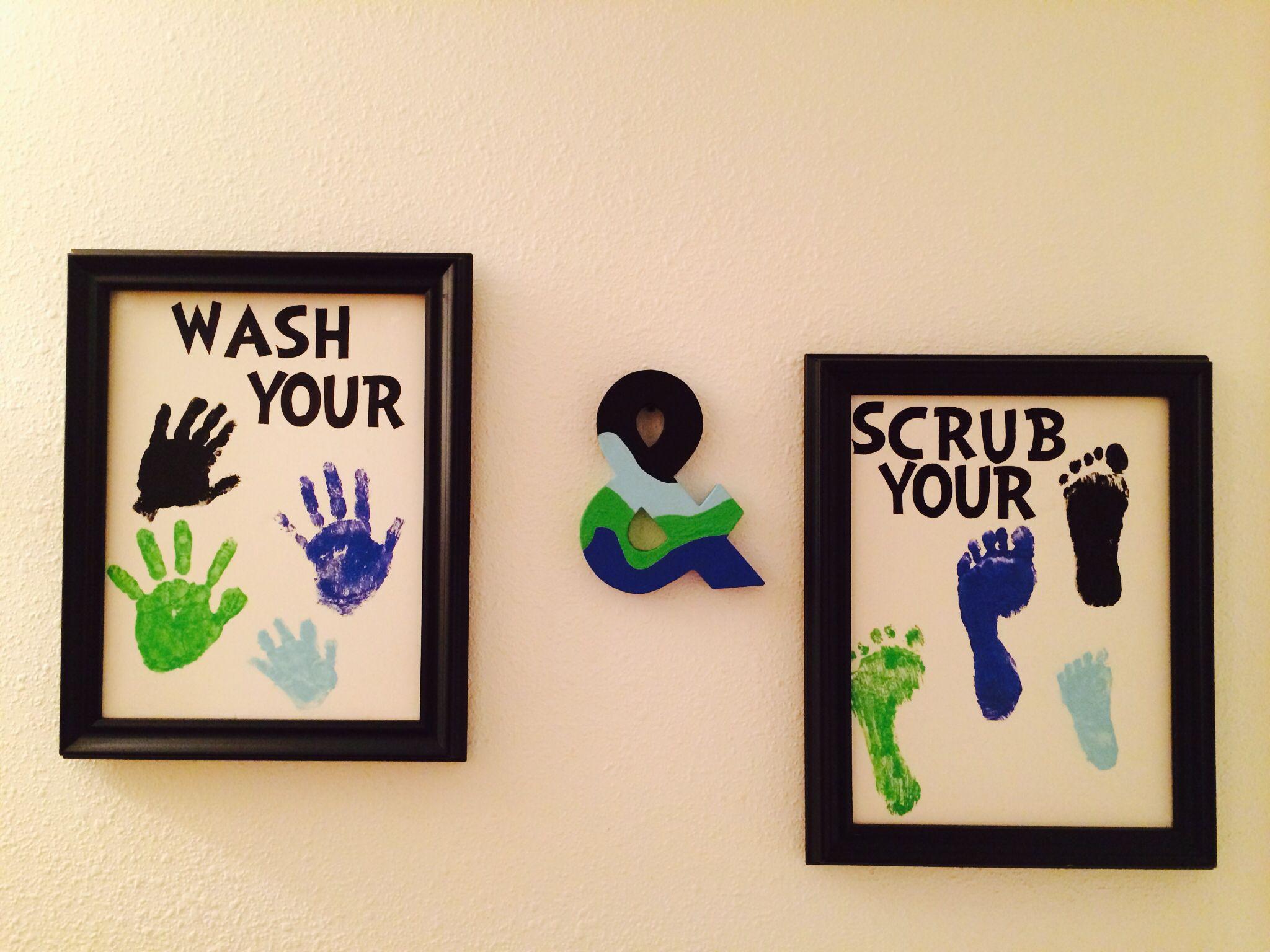 Bathroom Signs Wash Your Hands kids bathroom decor. wash your hands & scrub your feet signs. i