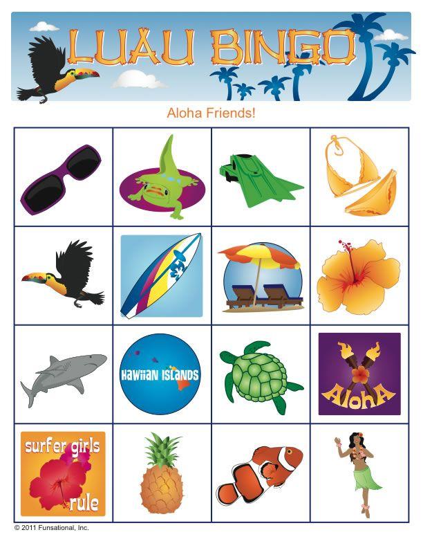 Luau Bingo Printable- Possible shower game for destination