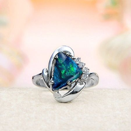 Black Opal and Diamond Ring by reannon