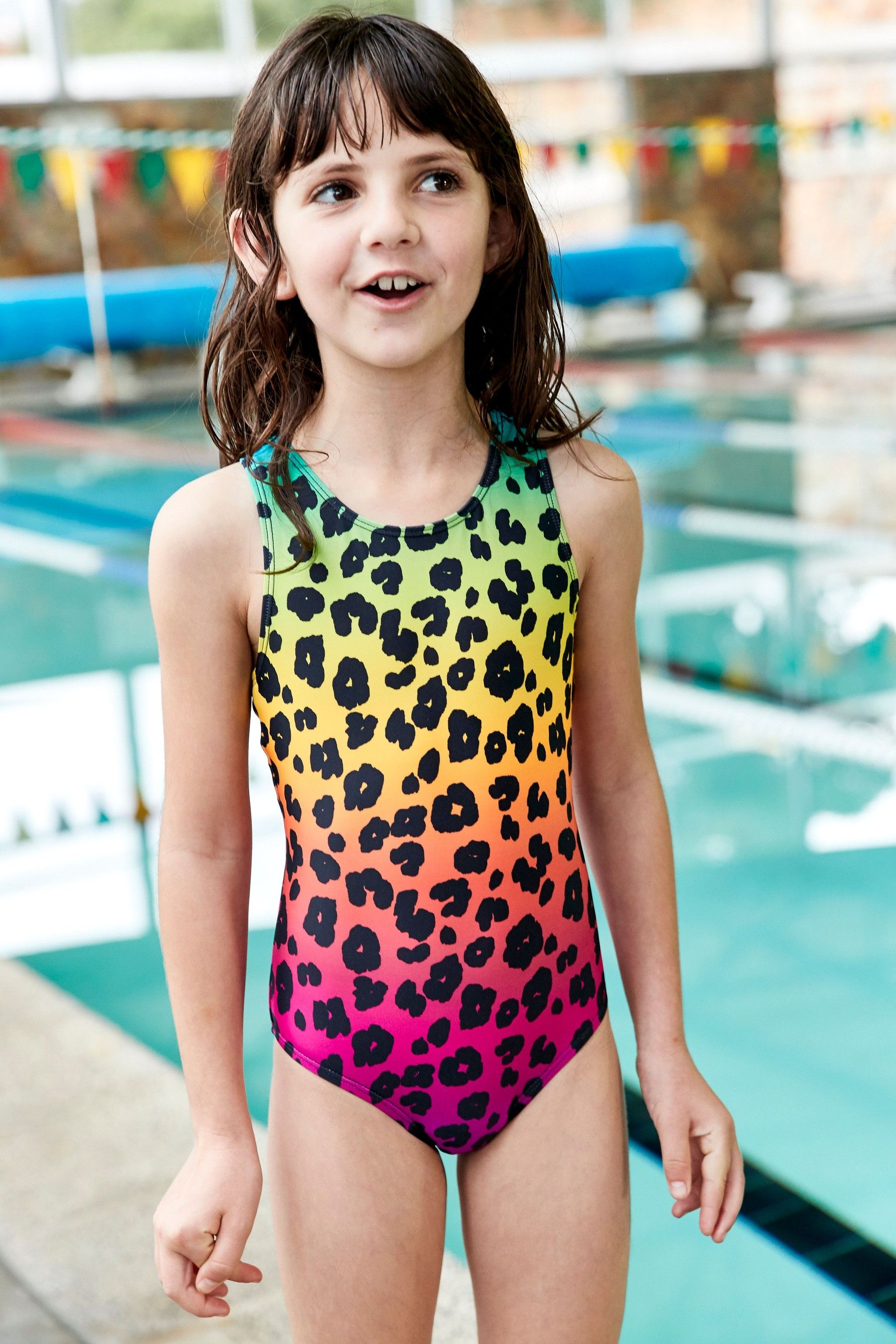 Girls Next Leopard Print Sports Swimsuit (3-16yrs)