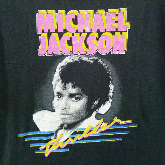 Vintage 80s 1983 Michael Jackson Thriller Black T-Shirt, Screen Stars Large