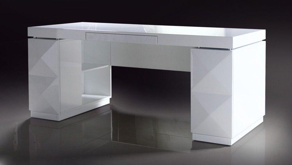 Versus Eva Modern White Lacquer Office Desk Modern White Desk