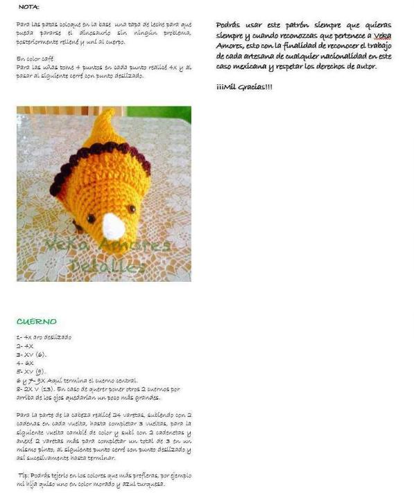 Patrón gratis amigurumi de dinosaurio de VEKA AMORES | amigurumis ...