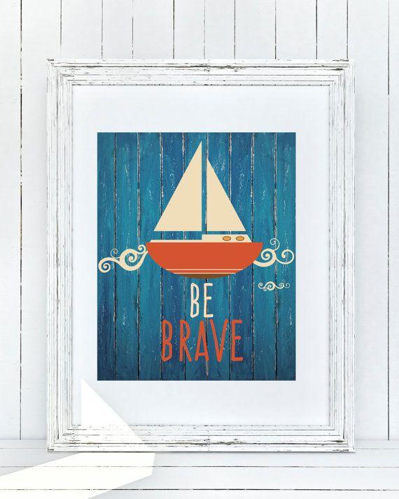 Nautical Nursery Art Be Brave Sailboat Wall Decor by GrayFrames
